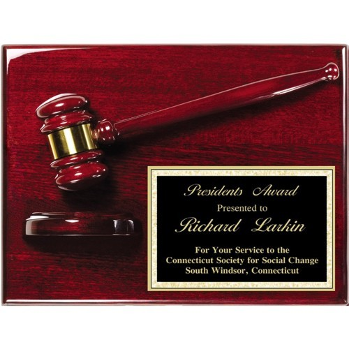 9X12 Rosewood Gavel Award Plaque