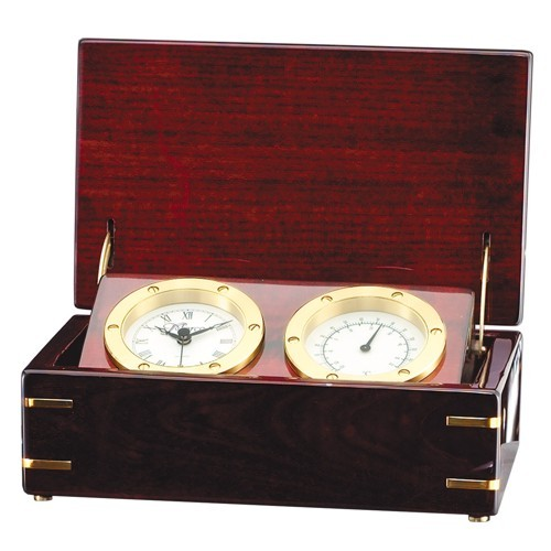 Rosewood Chest Clock and Thermometer