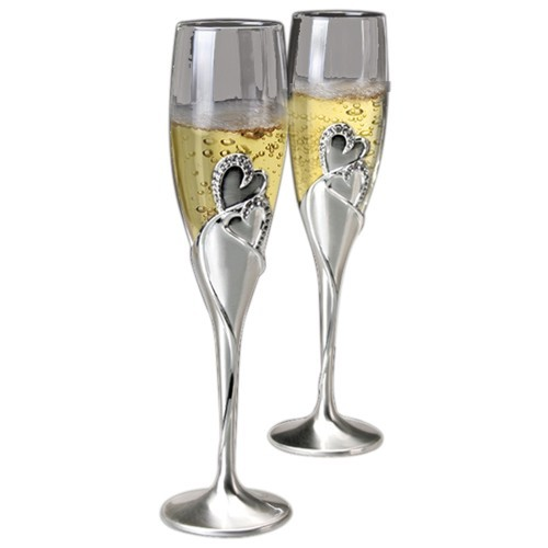 Two Hearts Toasting Flute Set