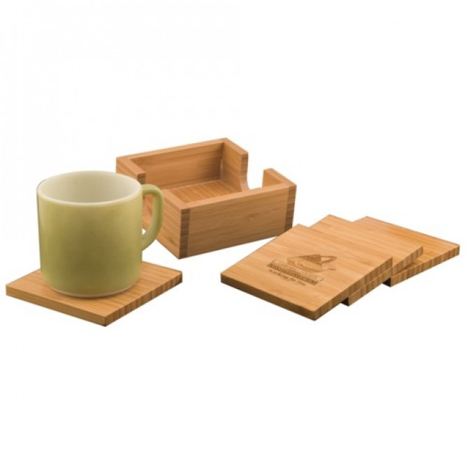 Bamboo Square 4 Coaster Set
