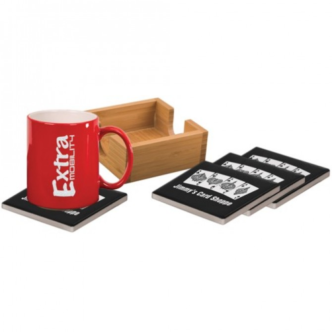 Square Laserable 4 Coaster Set
