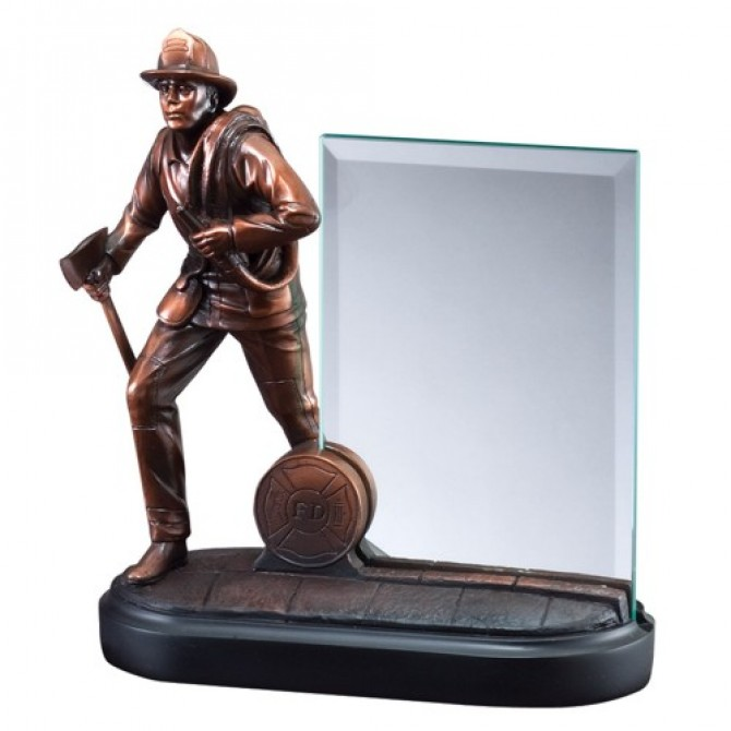 Fireman Statue Resin with Glass