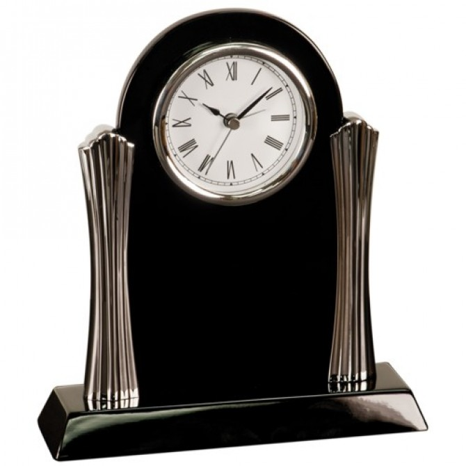 Black Silver Column Desk Clock