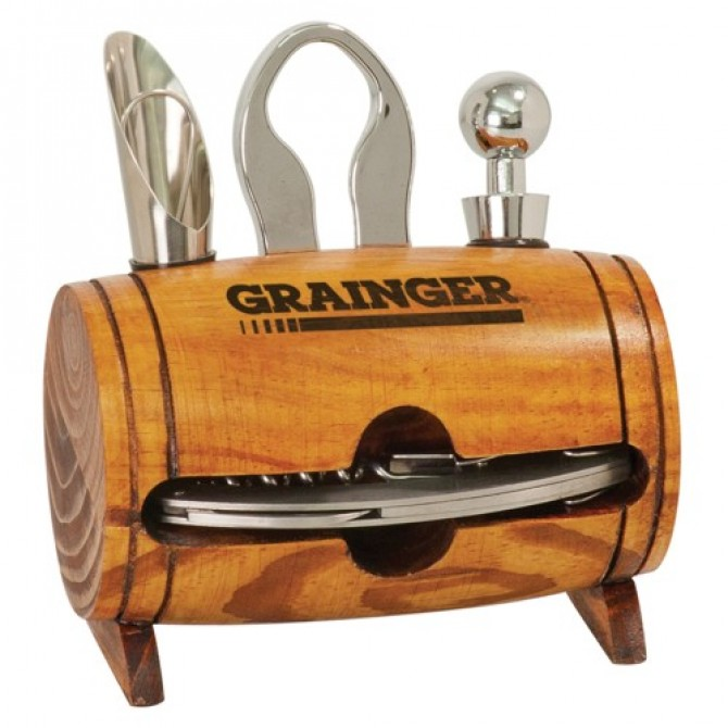 Oak Barrel Wine Tool Set